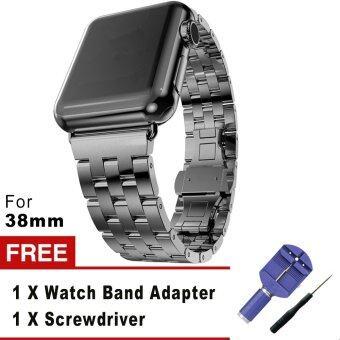 5 เนื้อโลหะสเตนเลสชี้ตรวจแทนสร้อยข้อมือกับปุ่มสองพับเข็มกลัดสำหรับ Apple Watch iWatch 38มม. (สีดำ)