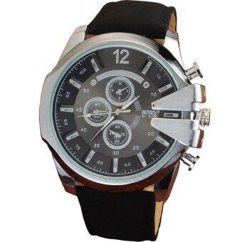 MEGA Luxury Quartz Waterproof Leather Watchband Outdoor Fashion Analog Wristwatch หรูหรานาฬิกาข้อมือ สายหนัง กันน้ำ รุ่น MG0018 (Silver/Black)