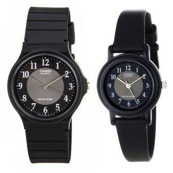 Casio Standard นาฬิกาข้อมือ คู่ชาย/หญิง สายเรซิน รุ่น MQ-24-1B3 และ LQ-139AMV-1B3 สีดำ