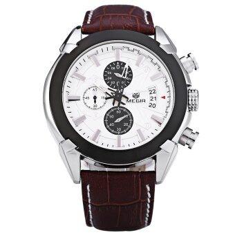 MEGIR M2020 นาฬิกาควอทซ์ทำผู้ชายสามใต้หน้าปัดนาฬิกาข้อมือกีฬา (ขาว)
