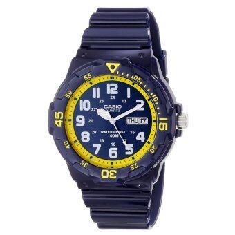 Casio Standard Analog นาฬิกาข้อมือสไตล์สปอร์ต MRW-200HC-2BVDF – สีกรมท่า/เหลือง