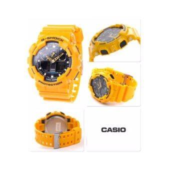 CASIO G-SHOCK รุ่น GA-100A-9ADR (CMG) นาฬิกาข้อมือ สายเรซิ่น สีเหลือง