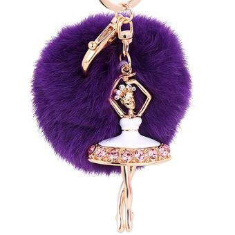 Harga Fluffy Fur Ball Hanging Pendant Keychain Key Ring Chain with Rhinestone Ballerina Ornament for Bag Purse Wallet Decoration Purple - intl