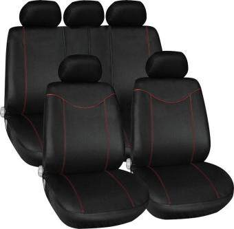 Harga YKS 11 pcs Full Seat Cover Set Car Seat Cover Low Front Back Set Black + Red Edge