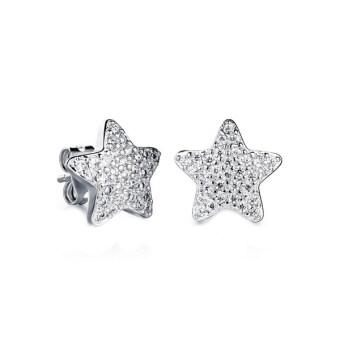 TANITTgems ต่างหูทองคำขาวรูปดาวประดับเพชรสวยหรู