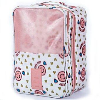RICHCOCO กระเป๋าเก็บรองเท้ารองเท้า ไนล่อนกันน้ำ Pink Smile 004