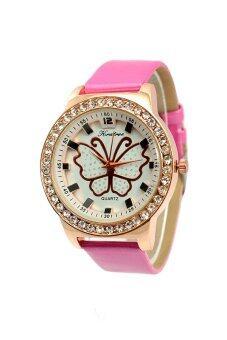 Kratree นาฬิกาข้อมือผู้หญิง สีชมพู สายหนัง