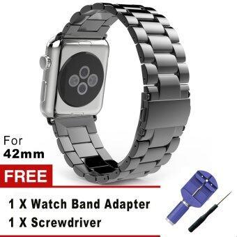 3 เนื้อโลหะสเตนเลสชี้ตรวจแทนสร้อยข้อมือกับปุ่มสองพับเข็มกลัดสำหรับ Apple Watch iWatch 42มม. (สีดำ)