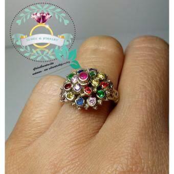 hindd แหวนพลอยนพเก้า (พลอย 9 สี)ตัวเรือนอัลปาก้า