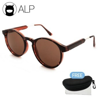 ALP Sunglasses แว่นกันแดด Vintage Oval Style รุ่น ALP-0015-BRCH-BR (Brown/Brown)