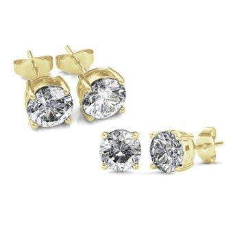 Diva Designs ต่างหู คริสตัล Cubic Zirconia 4-Prong-Solitaire-Studs Gold Plated 6 mm