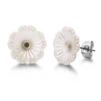 555jewelry ต่างหูก้านเสียบรูปดอกไม้สีขาวน่ารัก (สี ขาว/สตีล) รุ่น MNC-ER531-A