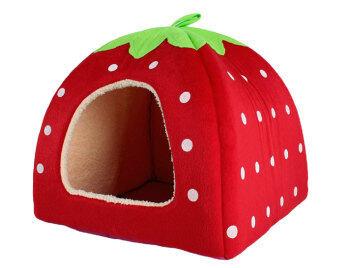 Leegoal สัตว์เลี้ยงสุนัขแมวบ้านสตรอว์เบอร์รี่กับเตียงอุ่นเบาะผ้าพลัฌ (สีแดง M)