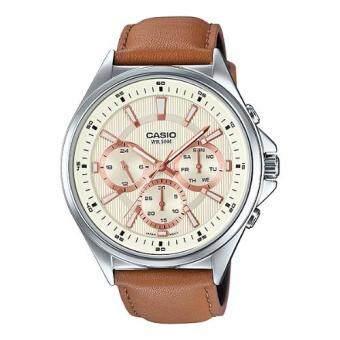 Casio Standard นาฬิกาข้อมือผู้ชาย สายหนังสีน้ำตาล รุ่น MTP-E303L-9AVDF (White)