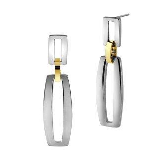 555jewelry ต่างหู สแตนเลสสตีล - ต่างหูก้านเสียบดีไซน์สวย (สี - ทอง-สตีล) รุ่น MNC-ER360-B1