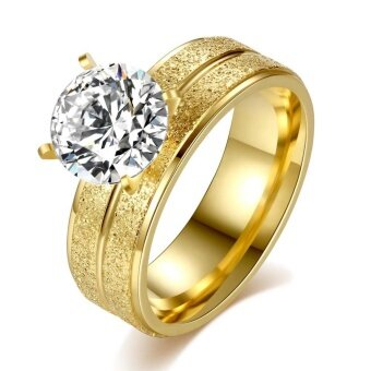 Harga Stainless steel personality four claw ring inlaid large round zircon ring titanium steel gold plated ring - intl