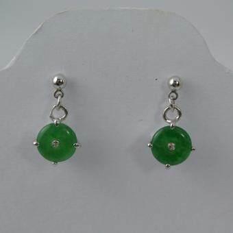 Pearl Jewelry ต่างหูหยก แบบโดนัท