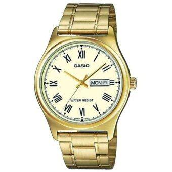 Casio Standard นาฬิกาข้อมือผู้ชาย สีทอง สายสแตนเลส รุ่น MTP-V006G-9BUDF