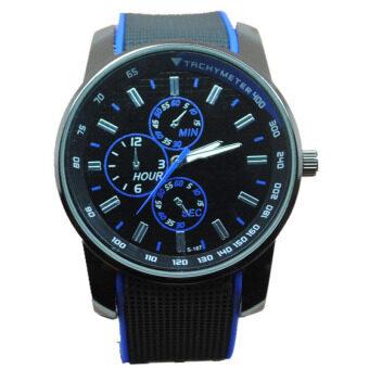 หญิงชายคู่กีฬาสี Easybuy ซิลิโคนเจลผลึกคล้ายคลึงนาฬิกาข้อมือสีน้ำเงิน