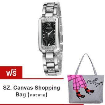 Kimio นาฬิกาข้อมือผู้หญิง สีเงิน/ดำ สายสแตนเลส รุ่น KW558 (แถมฟรี SZ. Shopping Bag คละลาย มูลค่า 250-)