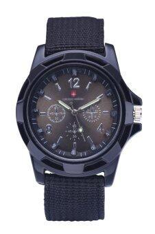 นาฬิกาควอทซ์ทหารทหารรัดผ้าแคนวาสคล้ายคลึงนาฬิกาสีดำเข็มขัดพื้นผิว