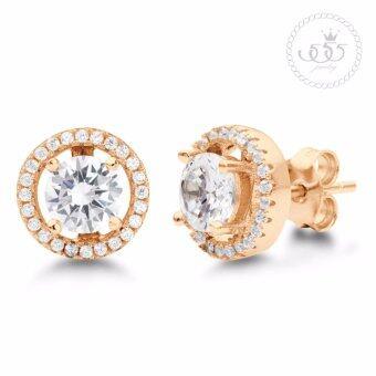 555jewelry Earrings ต่างหูผู้หญิง ประดับ CZ รุ่น MNC-ER535-B สี พิ้งโกลด์ ต่างหูแฟชั่น ต่างหูสตั๊ด