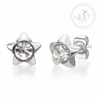 555jewelry 316L Earrings ต่างหูก้านเสียบประดับด้วย CZ รุ่น MNC-ER448-A สี Steel