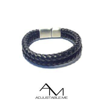 Adjustable Me สร้อยข้อมือถัก หนังวัวแท้ 100% ตัวล็อคสแตนเลส Double Rock Leather - Black