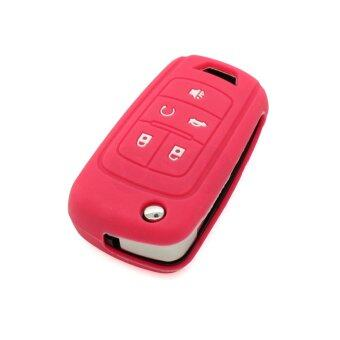 CV3653RS Silicone Cover Holder Fit for Buick Lacrosse 5 Button Flip Remote Key (Rose)