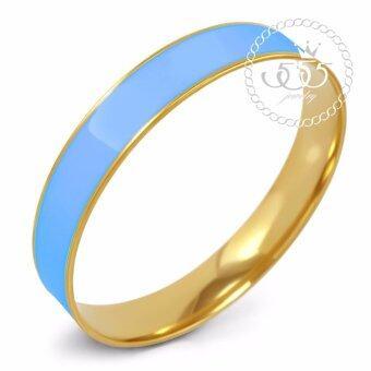 555jewelry กำไลสำหรับสุภาพสตรี รุ่น FSBG128-5 (Sky Blue/Yellow Gold)