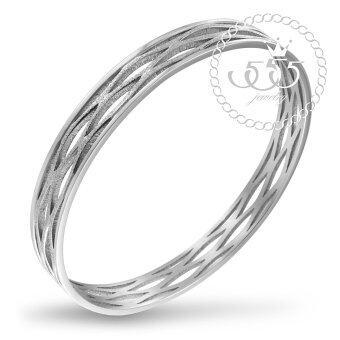 555jewelry กำไลข้อมือวงกลมคลาสสิค รุ่น MNC-BG012-A สี Steel