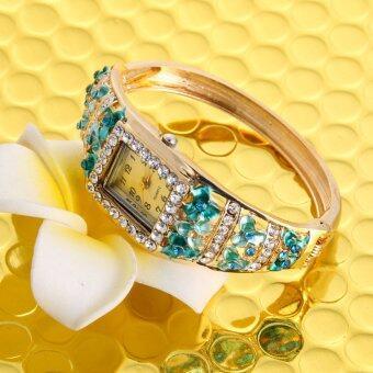 หญิงสาวแต่งตัวสีสันดอกไม้ชุบนาฬิกาสร้อยข้อมือนาฬิกาควอทซ์เบอร์ 3