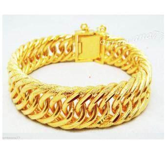 Thai Jewelry สร้อยข้อมือ ผู้ชาย เลส พ่นทราย ทองชุบ งานทองไมครอน ชุบด้วยเศษทองคำแท้ 96.5 % ยาว 8 นิ้ว