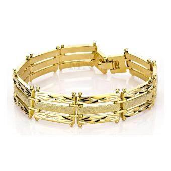 MONO Jewelry สร้อยข้อมือจากเศษทองแท้ ลายเหลี่ยมสามแถวพ่นทราย น้ำหนัก ๑ บาท