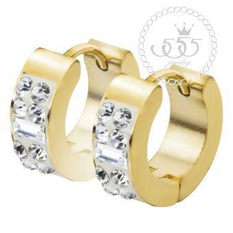 555jewelry ต่างหู สแตนเลสสตีล - ต่างหูห่วงดีไซน์สวยเก๋ รุ่น MNC-ER567-B (สี - ทอง)