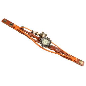 คุณหญิงสร้อยข้อมือนาฬิกาข้อมือบิดกันถักรัดควอทซ์ (กาแฟแสง)