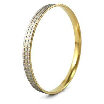 555jewelry กำไลข้อมือสำหรับสุภาพสตรี กำไลทรงกลม รุ่น MNC-BG067-B - Yellow Gold
