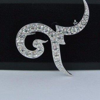 Pearl Jewelry เข็มกลัดไว้อาลัย 9 คริสตัลสีเงิน Premium