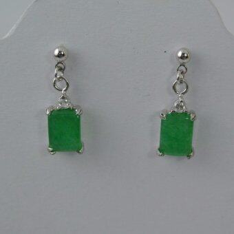 Pearl Jewelry ต่างหูหยก ทรงสี่เหลี่ยมห้อย ER04