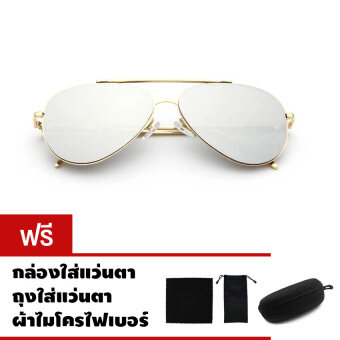 CAZP Sunglasses แว่นกันแดด ทรงนักบิน Classic Large Aviator Style รุ่น 3025 กรอบทอง/เลนส์ปรอทสีเงิน (Gold/Mirrored Silver) สวมใส่ได้ทั้งชายและหญิง 61mm
