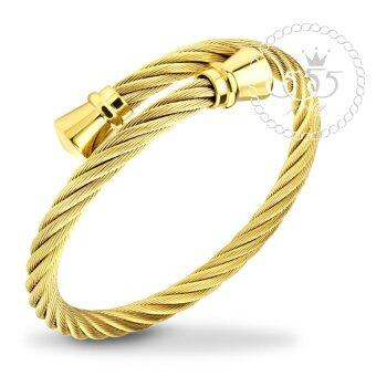 555jewelry กำไลข้อมือลาย Twisted rope สี ทอง รุ่น MNC-BG253-B - กำไลข้อมือเรียบ ดีไซน์ไขว้ สแตนเลสสตีล