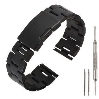 22มมรัดสายนาฬิกาสเตนเลสสำหรับ Samsung Gear 2 NEO/LG ไมโครกรัม/มิลลิลิตรนาฬิกาจระเข้สีดำ