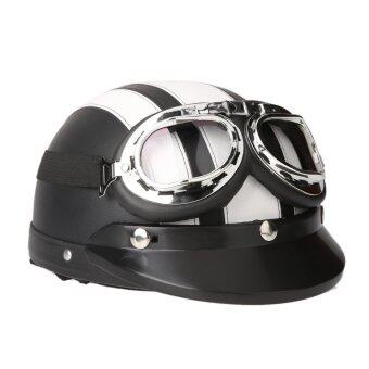 Harga Motorcycle Scooter Open Face Half Leather Helmet with Visor UV Goggles Retro Vintage Style 54-60cm