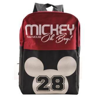 Disney Mickey Mouse กระเป๋าเป้ กระเป๋านักเรียน สะพายหลัง (สีกรมคาดแดง)