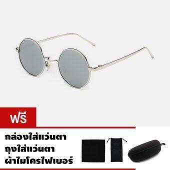 CAZP Sunglasses แว่นกันแดด ทรงกลม Classic Round Metal Style รุ่น 3447 Polarized กรอบเงิน/เลนส์ปรอทสีเงิน (Silver/Mirrored Silver) 47mm