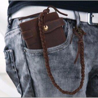 SAPA กระเป๋าสตางค์ หนังแท้ ทรงยาว แบบเรียบหรู สำหรับผู้ชาย มาในโทนสีน้ำตาลเข้ม รุ่น SPE16