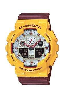 Casio G-Shock นาฬิกาข้อมือสุภาพบุรุษ สายเรซิน รุ่น GA-100CS-9ADR - สีแดง/เหลือง