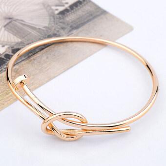 แฟชั่นบุรุษสตรีตะปูสกรูน็อตสเตนเลสสร้อยข้อมือกำไลทองแดงรอบทอง