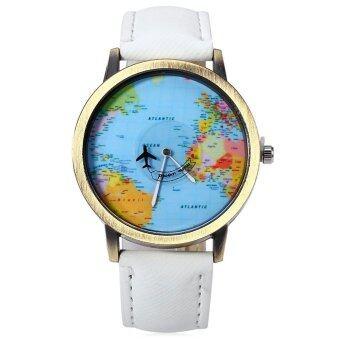 นาฬิกาข้อมือนาฬิกาควอทซ์เพศแผนที่โลกสายหนัง 5