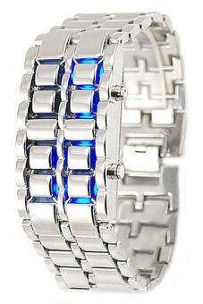 BlueLans สีน้ำเงินนำเงินโลหะเหล็กไร้สายลาวา Led นาฬิกาข้อมือ